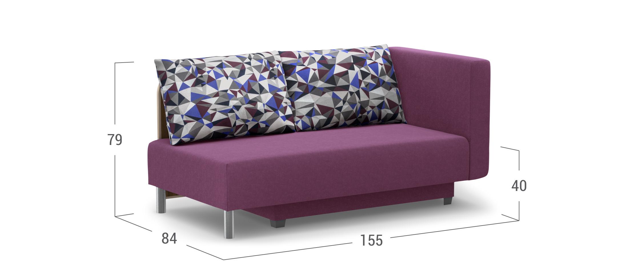 Диван прямой еврокнижка фиолетовый Лион 060 правый подлокотник - купить во Владивостоке в интернет-магазине MOON-TRADE.RU 002833